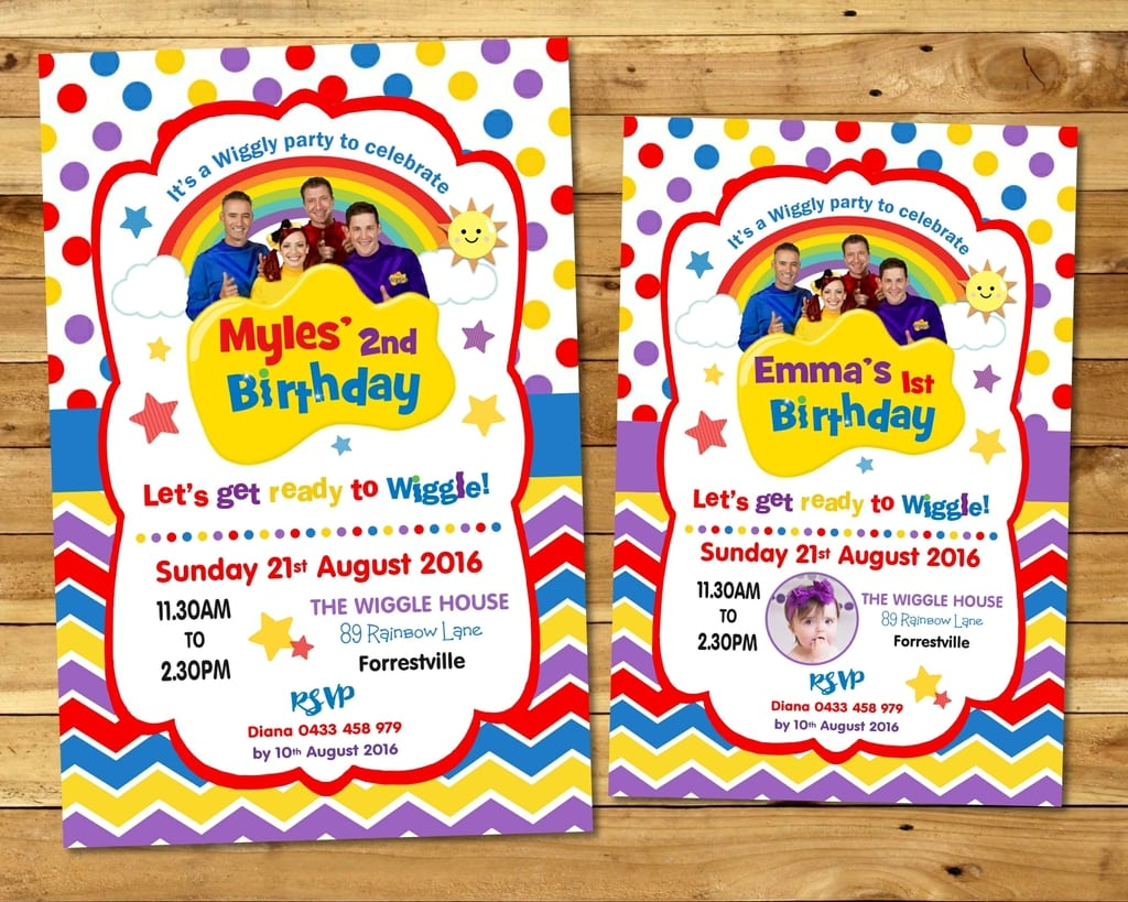 The Wiggles Invitation Personalised Invite Birthday Party Boy Girl