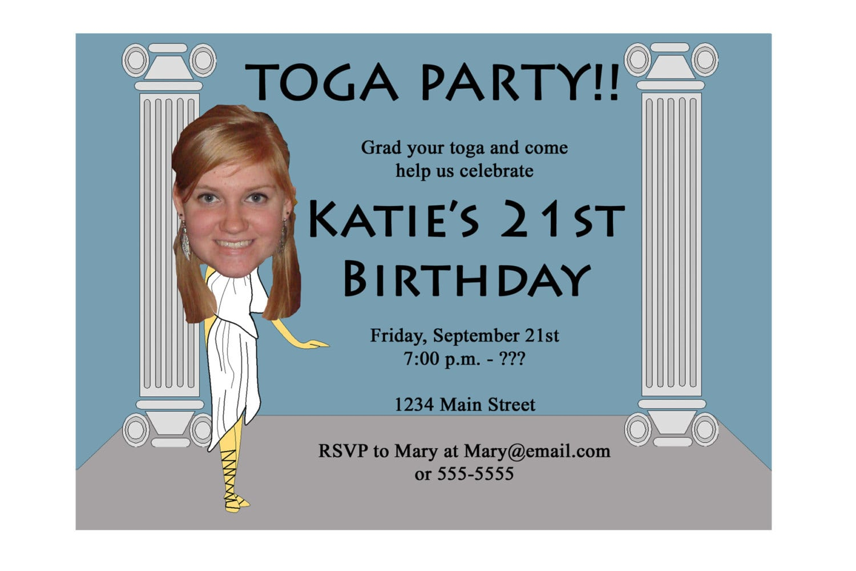 Toga Party Invitation Funny Unique Digital Printable Great
