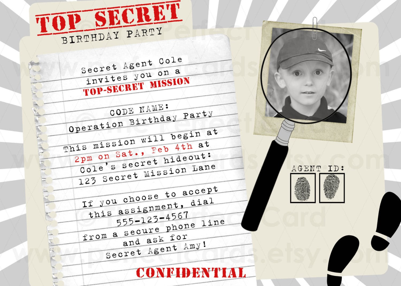 Spy Birthday Party Invitations - Mickey Mouse Invitations Templates