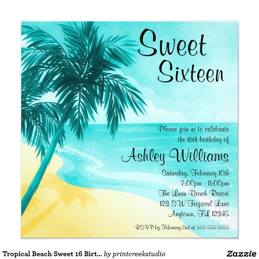 Tropical Beach Sweet 16 Birthday Party Invitations