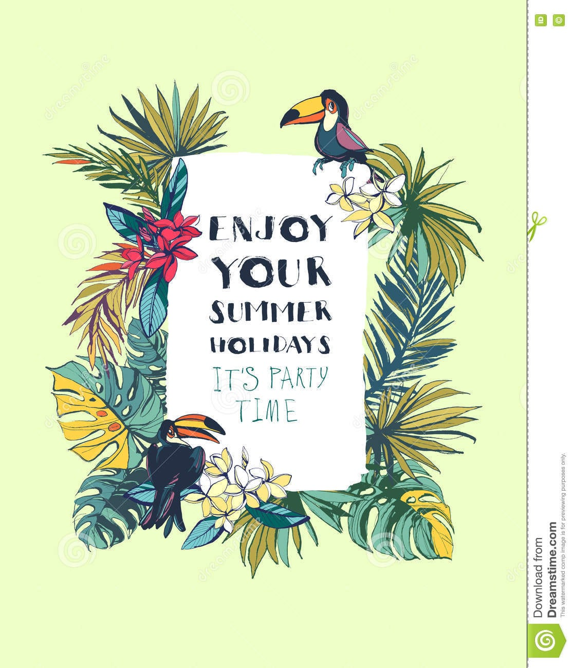 Tropical Floral Summer Beach Party Invitation With Palm Beach Le