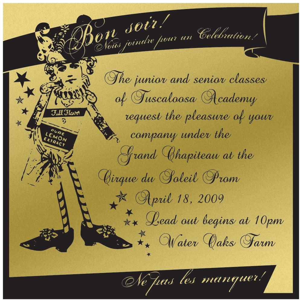 Tuscaloosa Academy Prom 2009 Parents Invitation