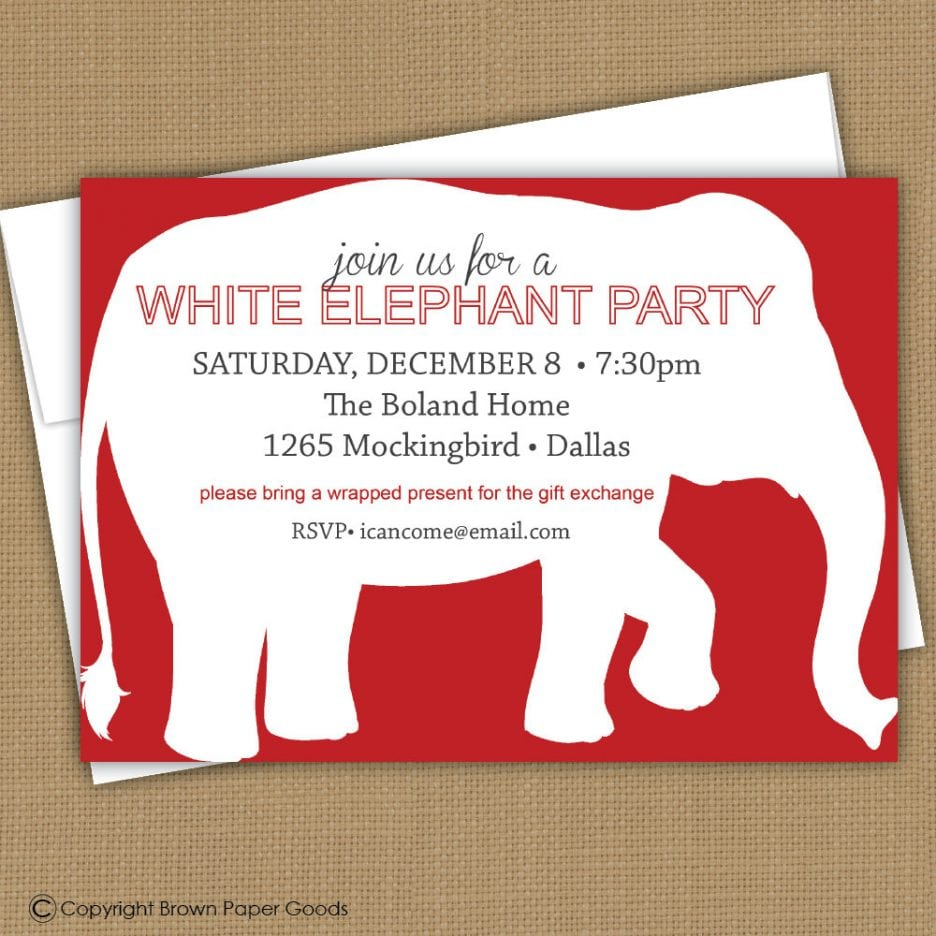 White Elephant Christmas Party Invitations Mickey Mouse - White elephant christmas party invitations templates