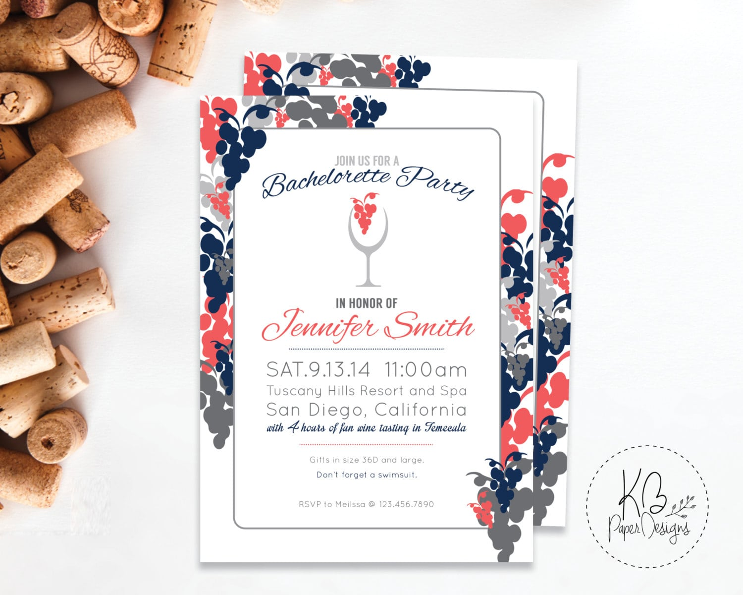 Wine Bachelorette Party Invitation Wine Tasting Invite