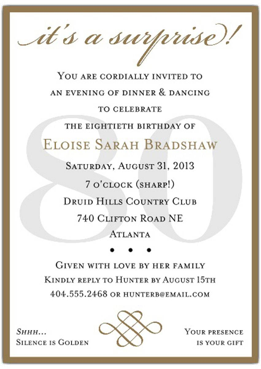 10+ Sample Images 80th Birthday Party Invitations Templates For