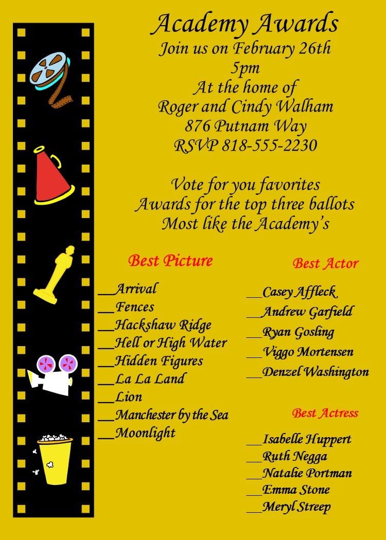 Academy Awards Party Invitations And Oscar Invitations New