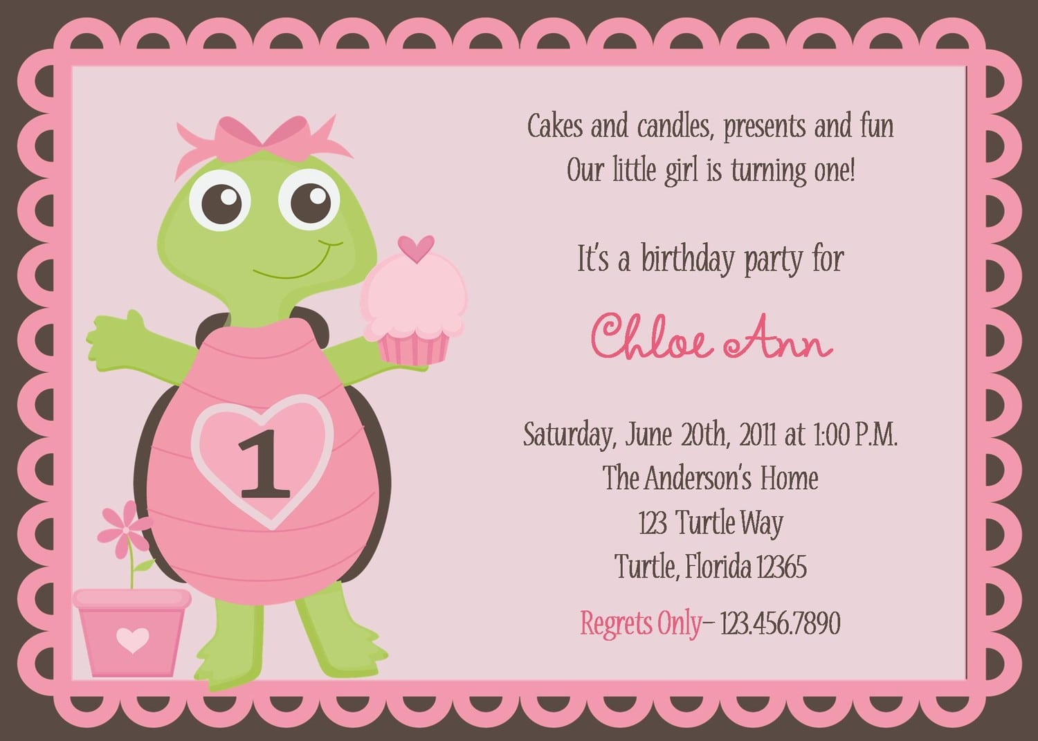 Adorable Pink Turtle Birthday Party Invitations