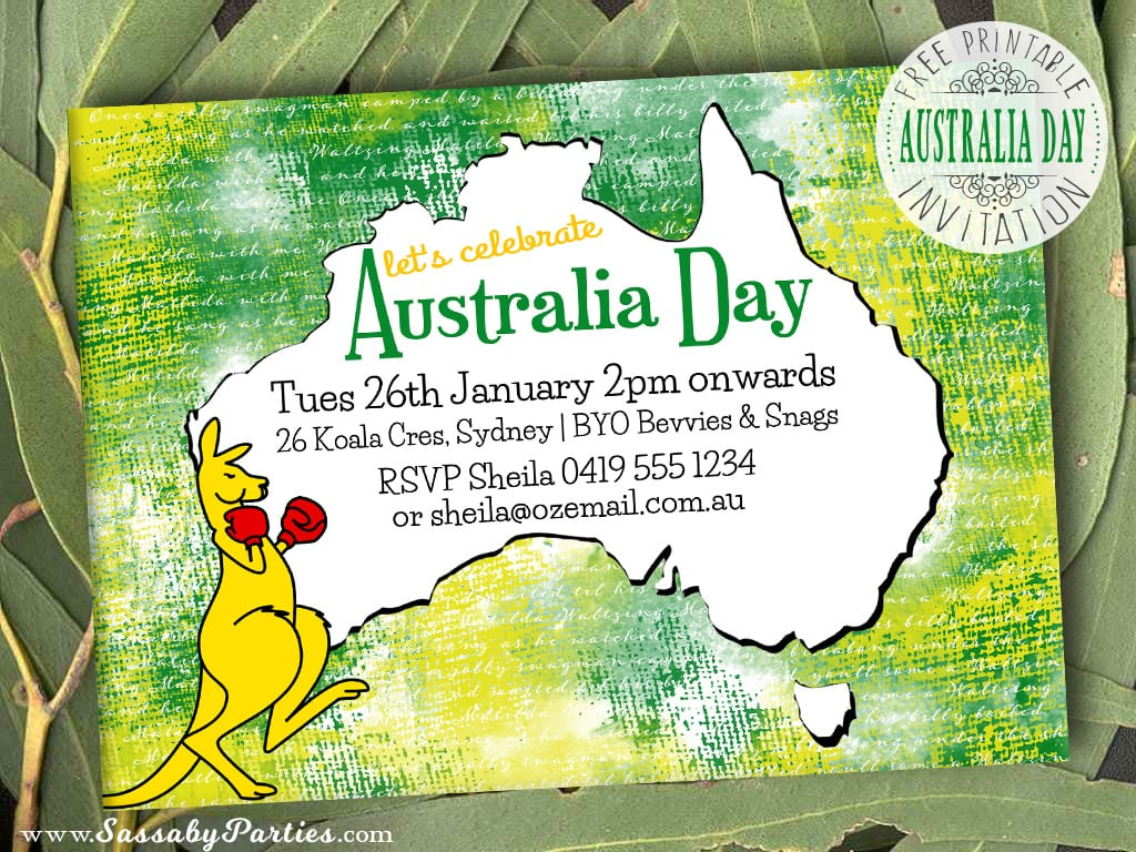Australia Day Invitation Free Printable