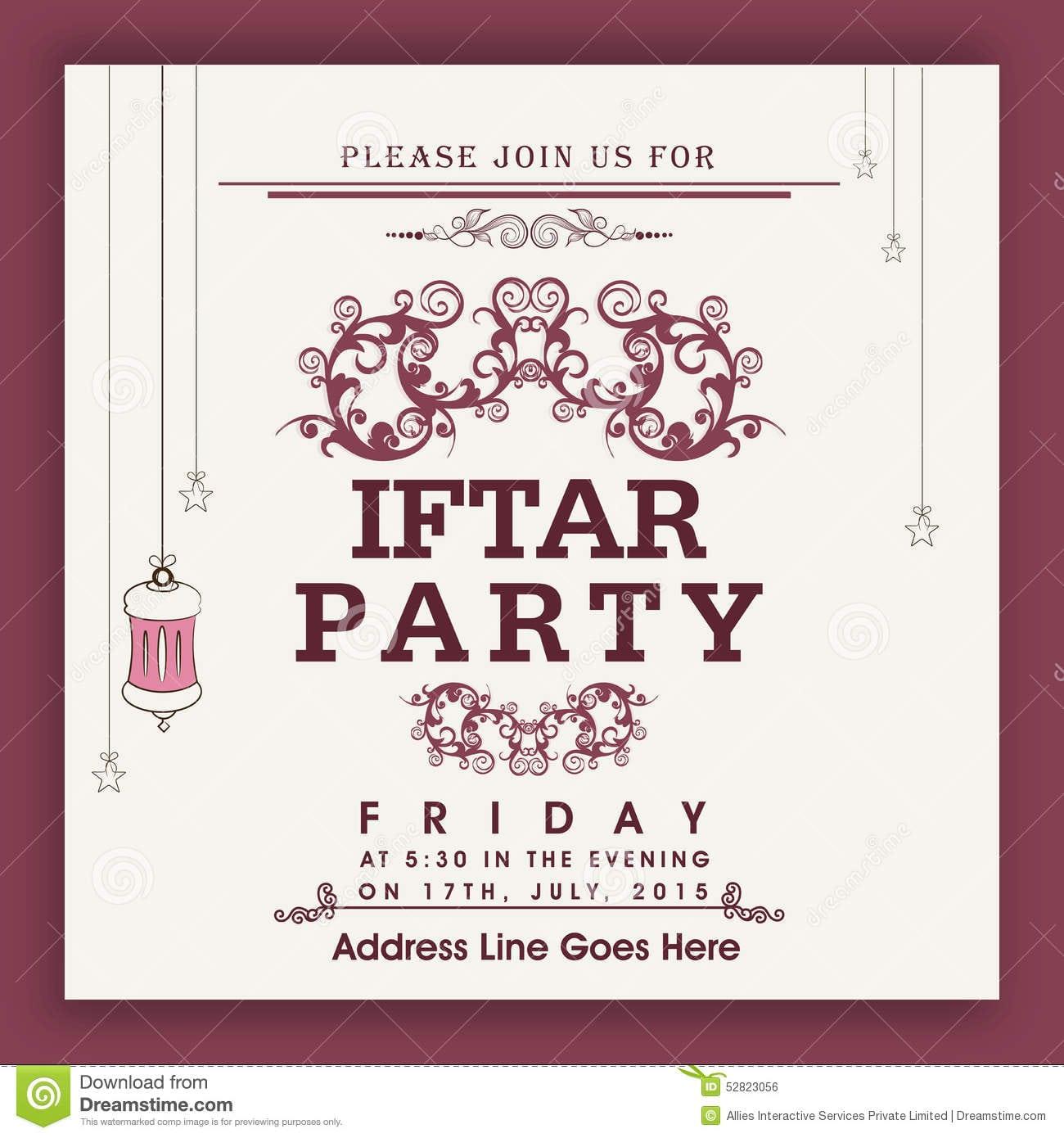 Beautiful Invitation Card For Ramadan Kareem Iftar Party