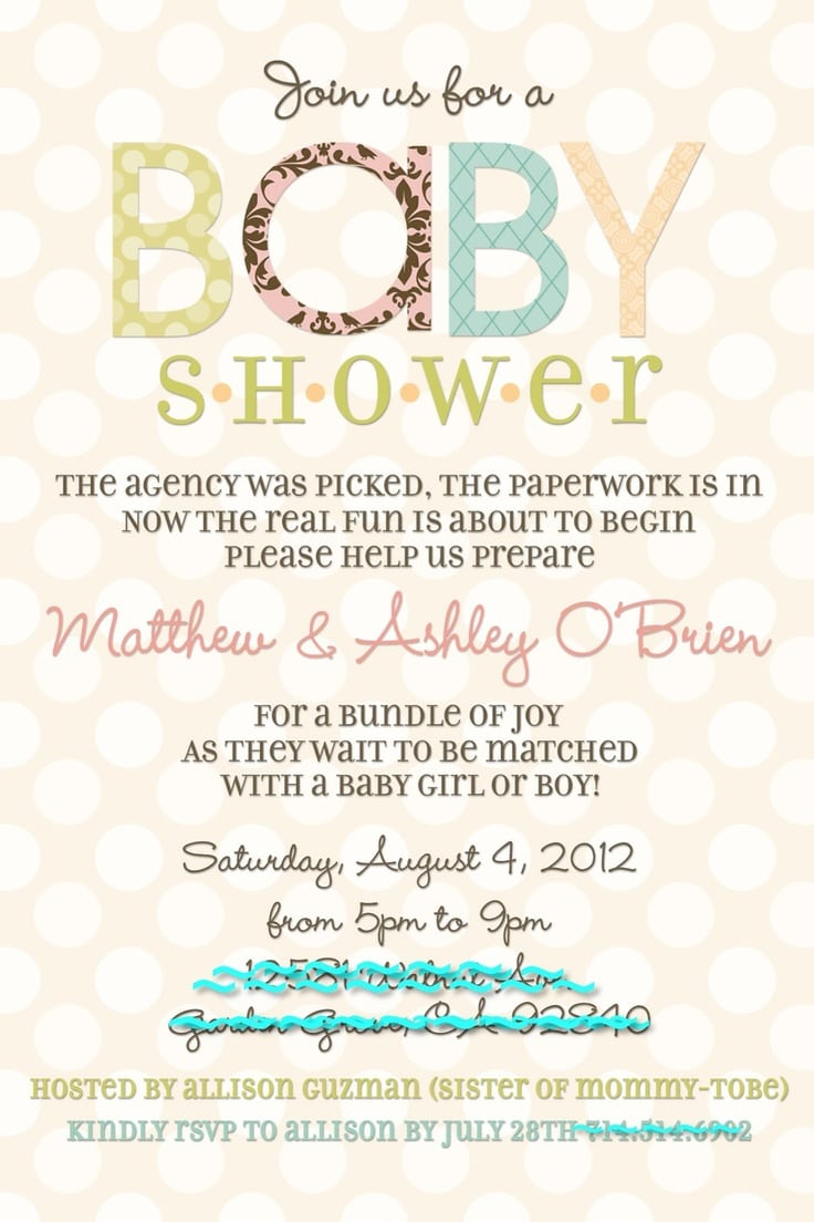 Best Adoption Baby Shower Invitation Wording Ideas