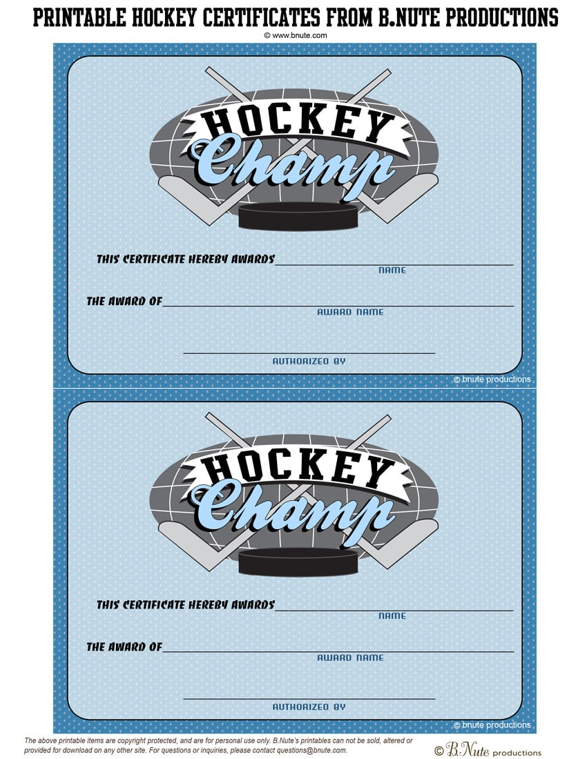 Bnute Productions  Free Printable Hockey Party Tags And