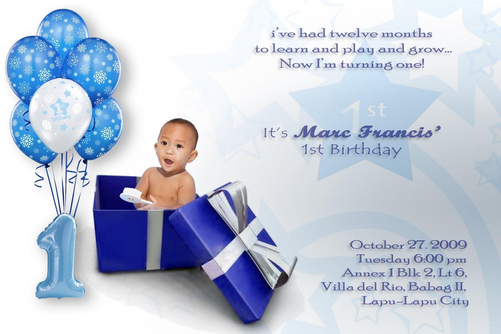 Boy 1st Birthday Invitations