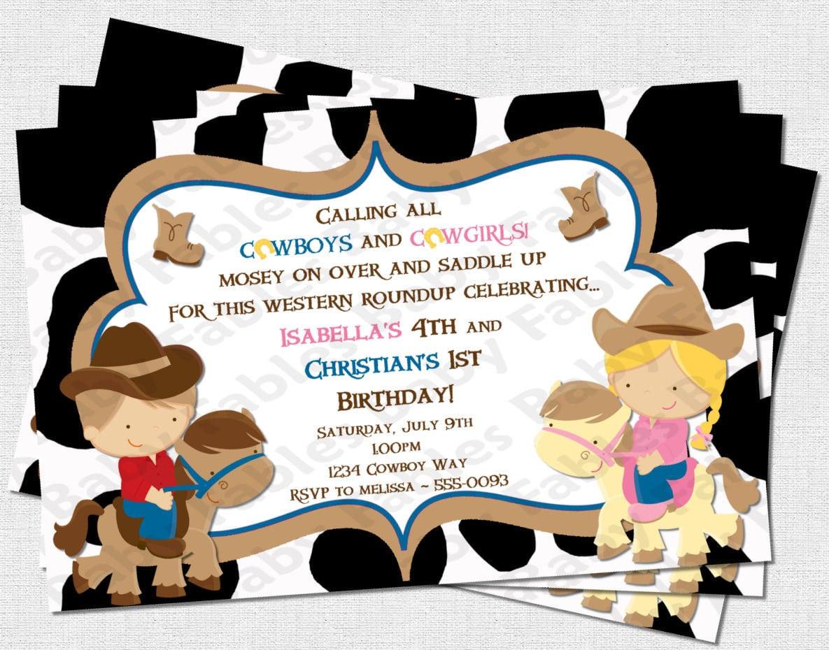 Cowboys And Cowgirls Birthday Party Invitation Digital Diy