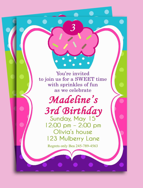 Cupcake Birthday Invitation Printable Or Printed With Free