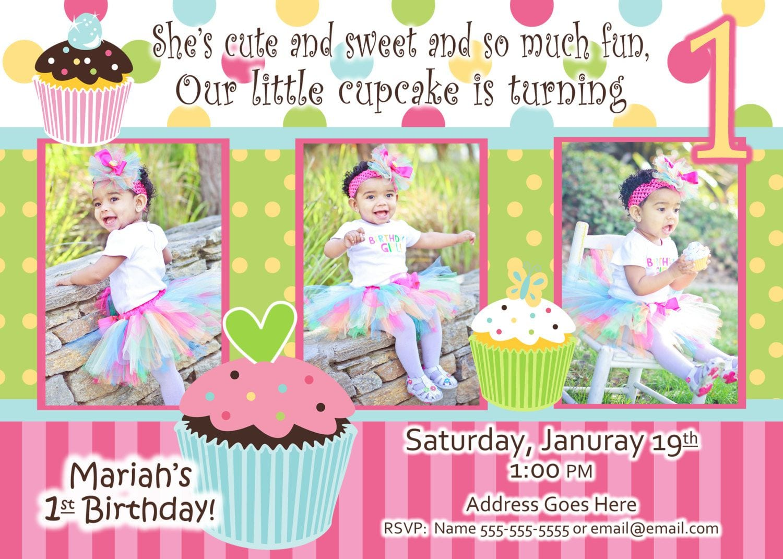 Cupcake Invitations 1st Birthday   1st Birthday Cupcake