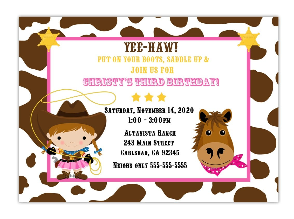Custom Cowgirl Birthday Party Invitation Choose Background And