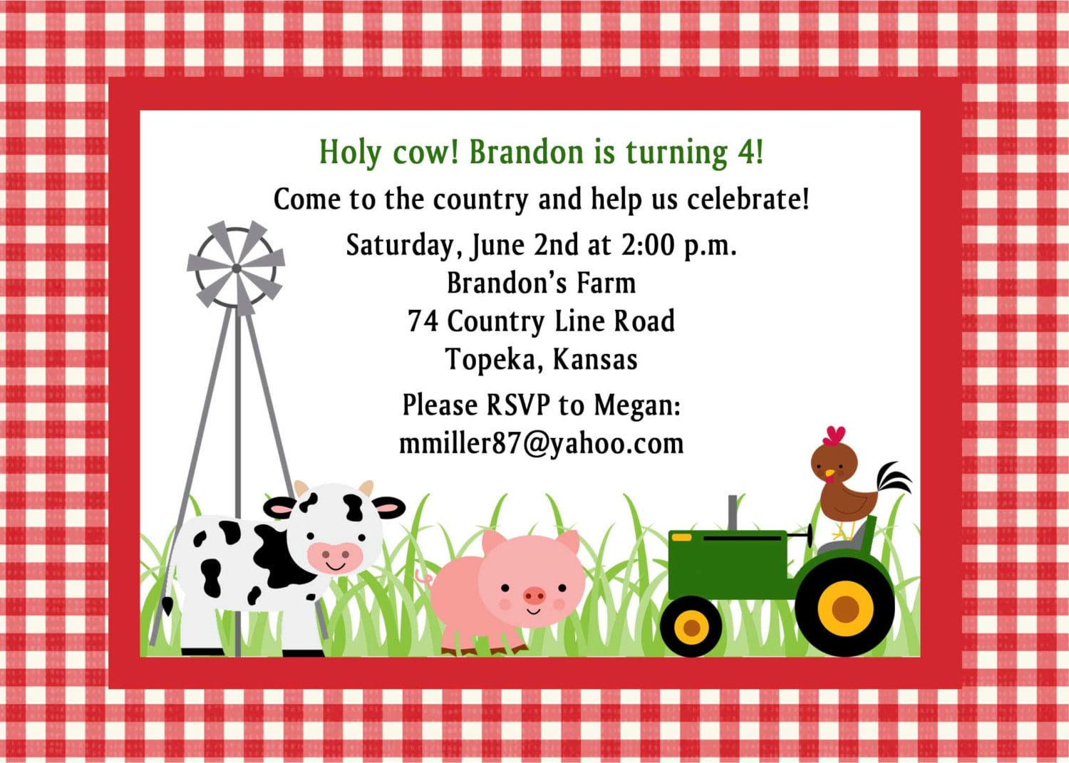 Custom Farm Birthday Party Invitation