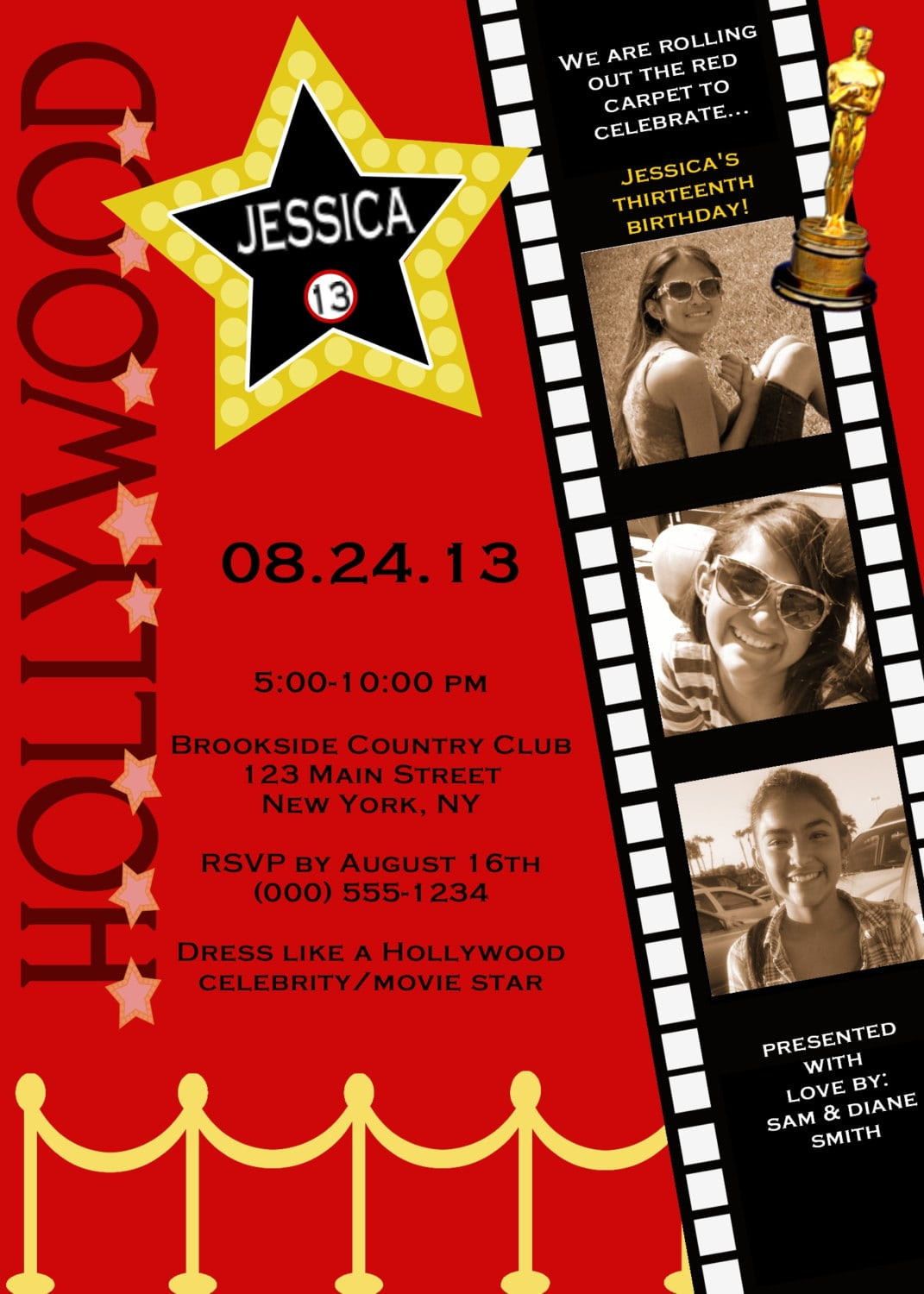 Customized Hollywood Red Carpet Invitations