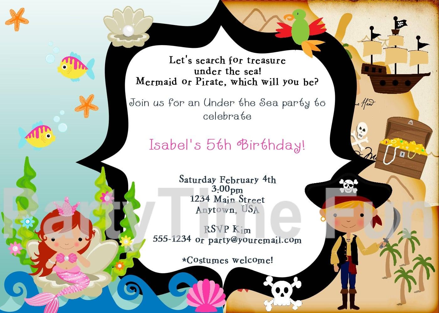 Customized Pirate And Mermaid Birthday Invitations