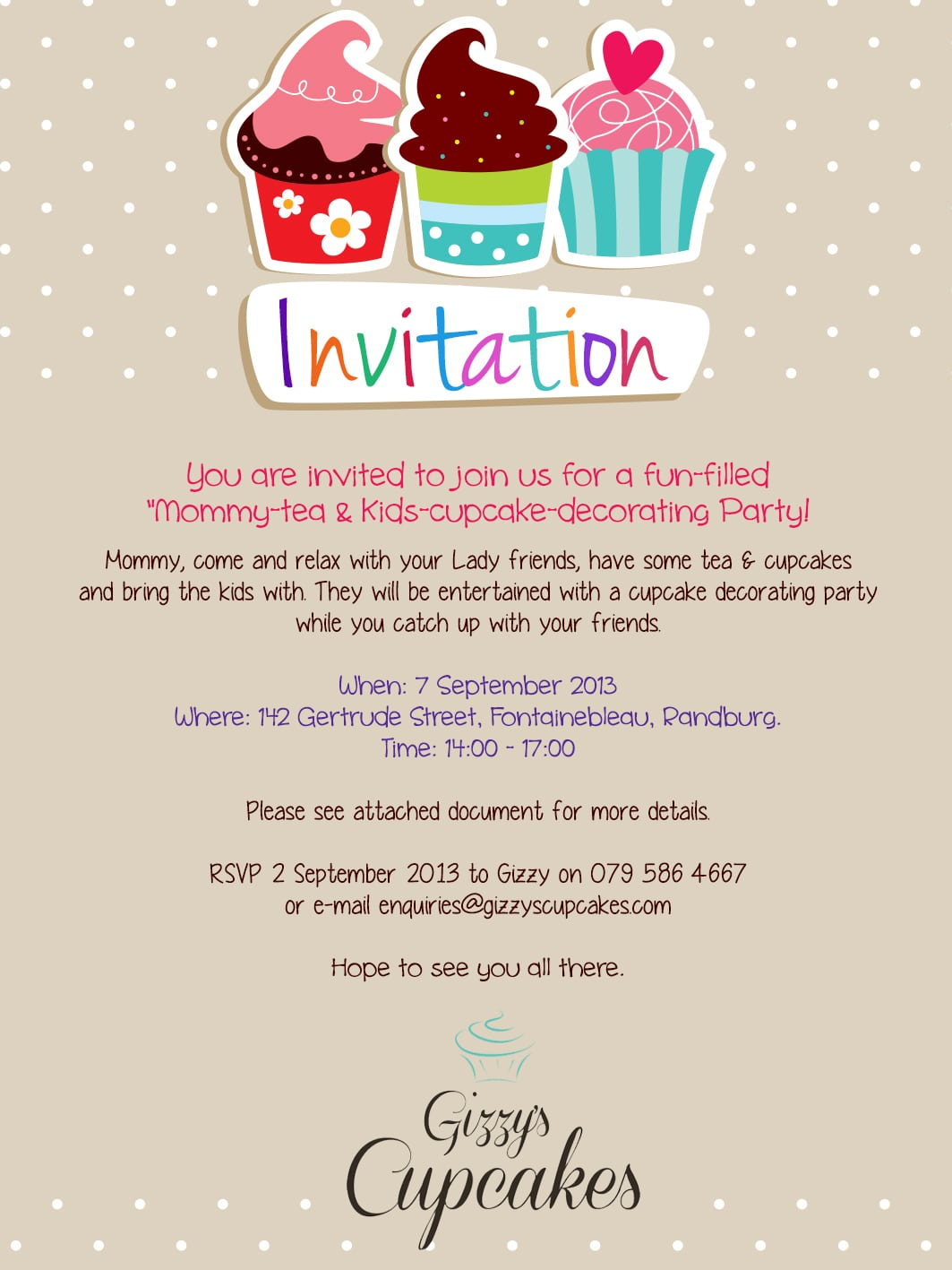 Delicious Mommy Tea Kids Cupcake Decorating Party Invite  Birthday