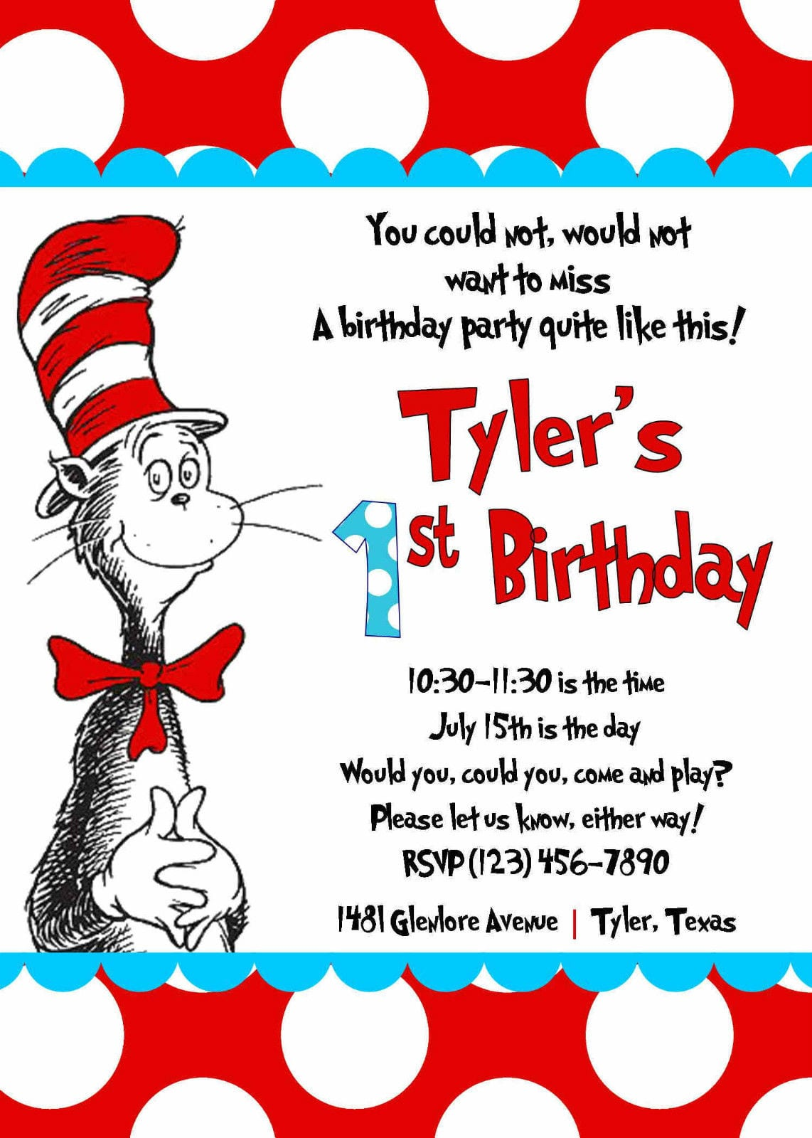 Details About Cat In The Hat Invitation (printed) 5x7 Customized