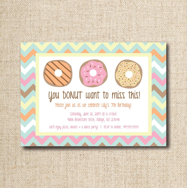 Donut   Doughnut Party Invitation Custom Printable File
