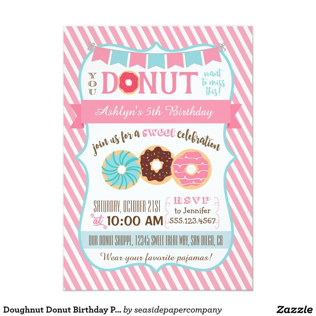 Doughnut Donut Birthday Party Invitation Pink Girl
