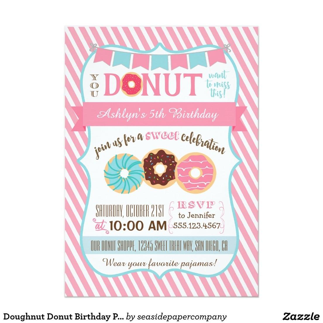 Doughnut Donut Birthday Party Invitation Pink Girl