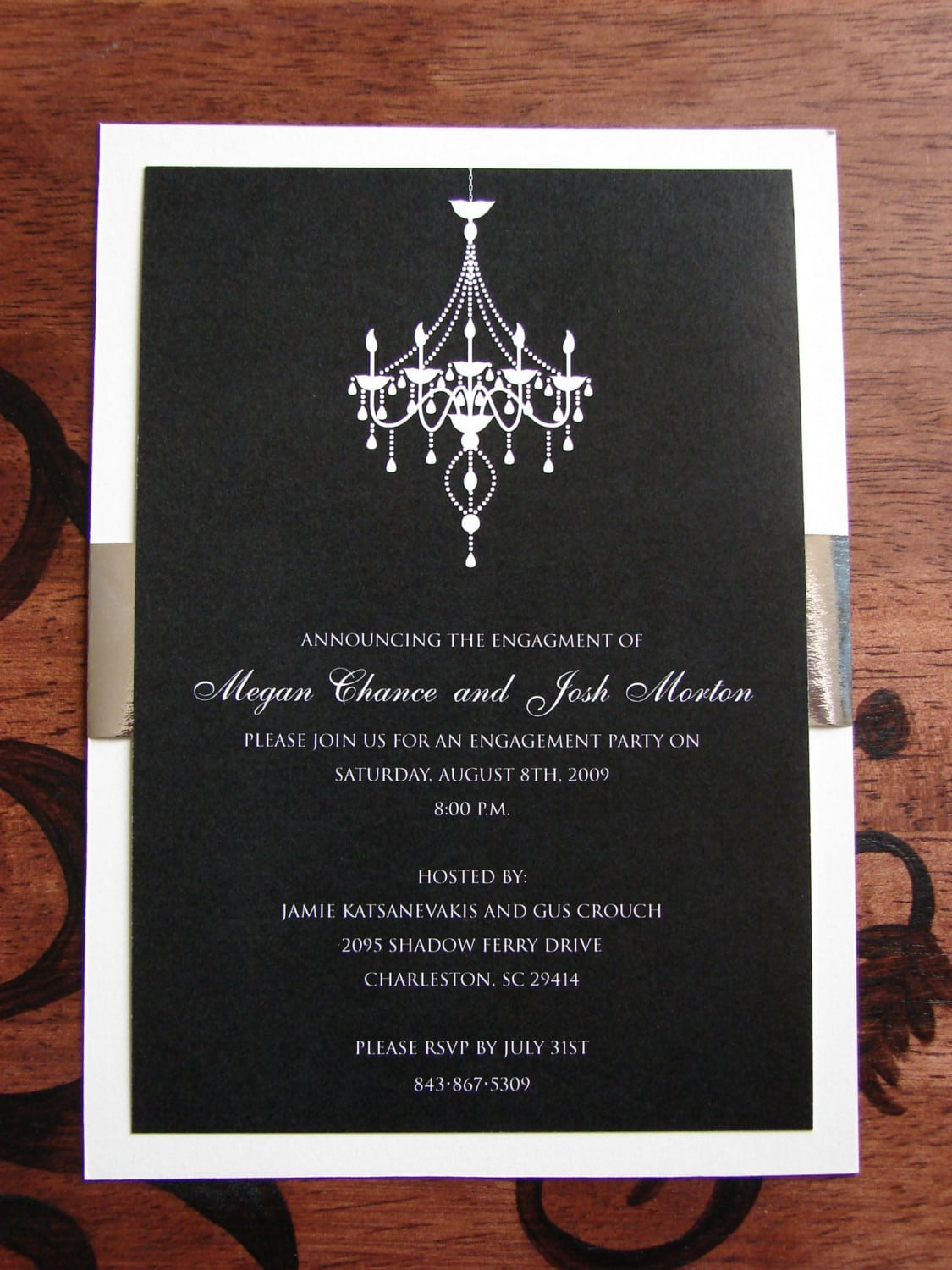 Engagement Party Invitations Save The Date Black Tie Party