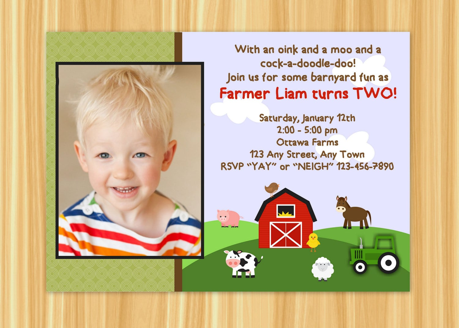 Farm Invitation Farm Birthday Party Farm Party Barnyard