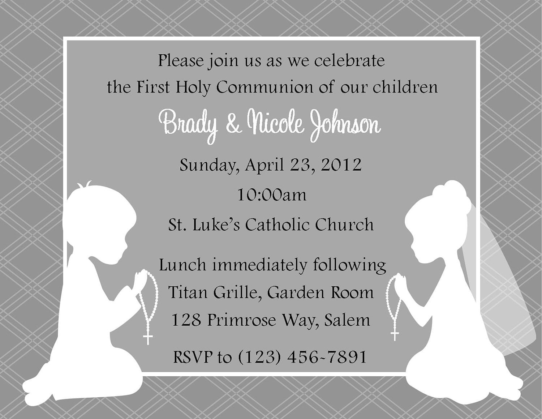 First Communion Invitation Twins Digital File