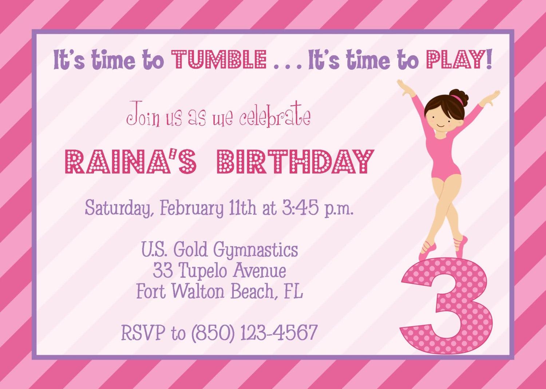 Gymnastic Birthday Party Invitations   Simple Design For Gymnastic