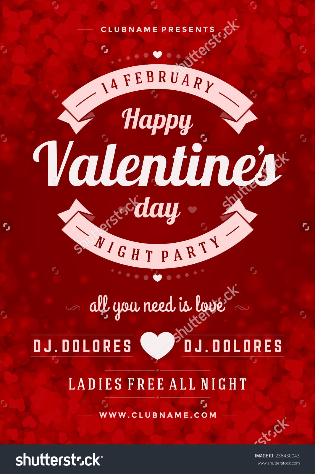 Happy Valentines Day Party Poster Design Stock Vector 236430043
