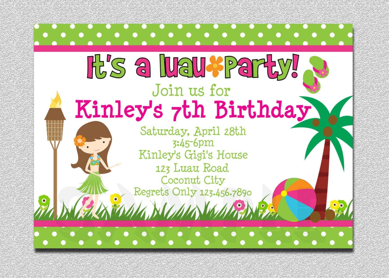 Hawaiian Birthday Party Invitations