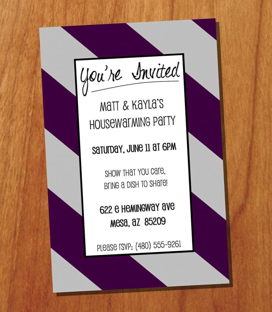 Invitation Wording For Owl Housewarming Party With Stripe Pattern
