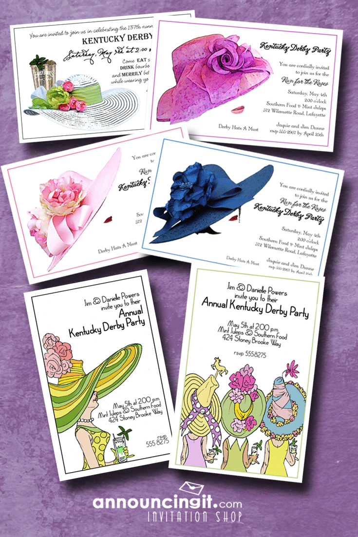 Kentucky Derby Hats Party Invitations