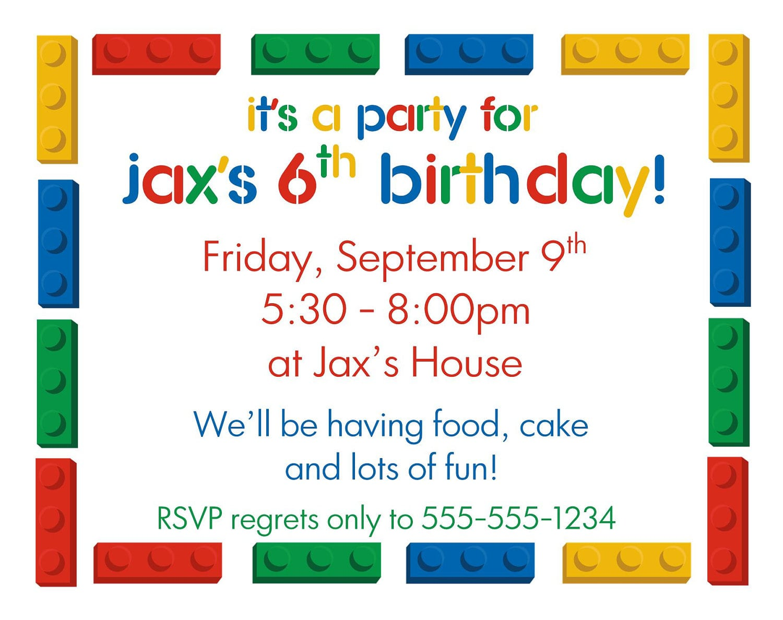 Lego Diy Printable Birthday Party Invitations