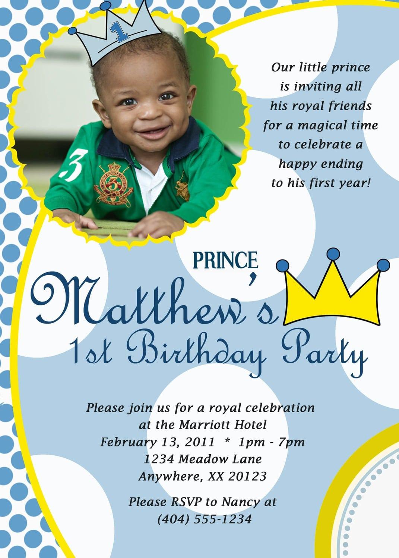 Prince Invitations Birthday Party
