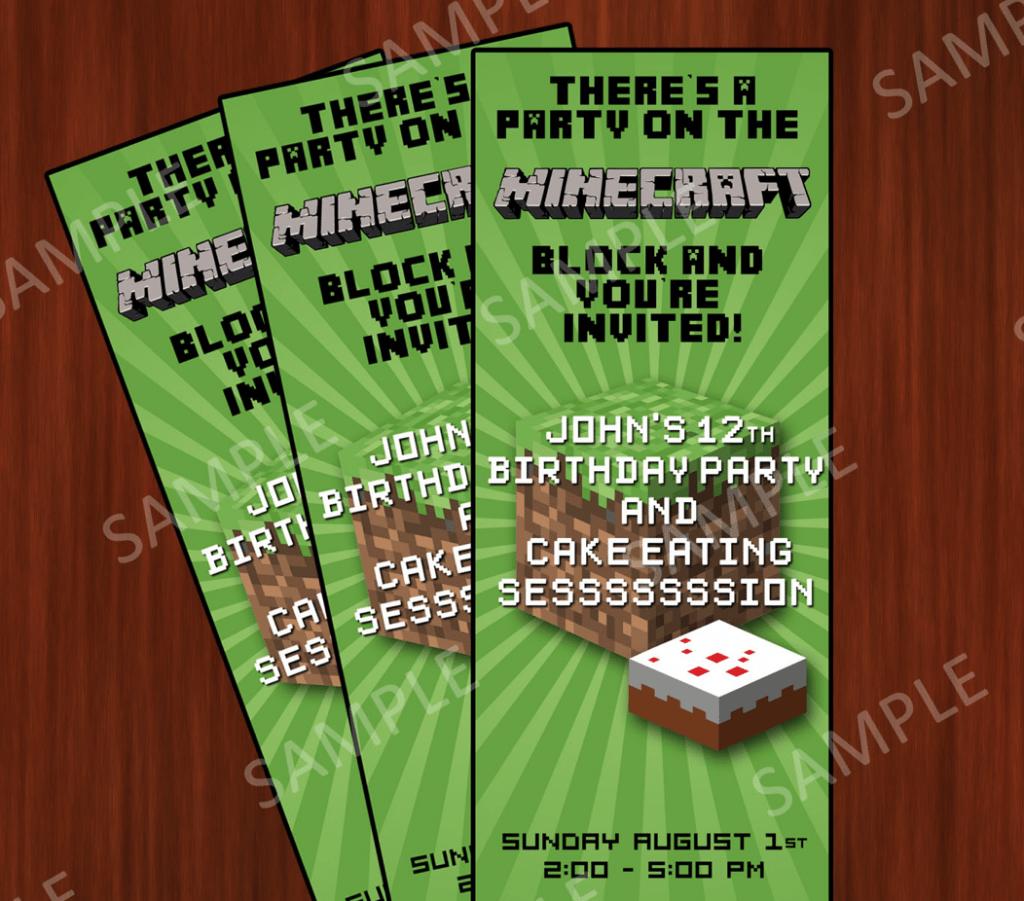 Minecraft Birthday Invitation Wording