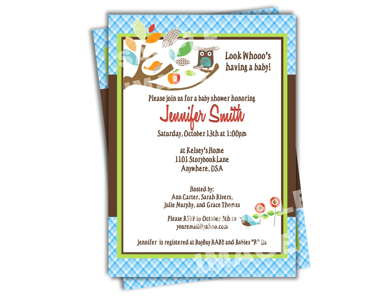Owl Baby Shower Invitation Skiphop Treetop Friends Baby