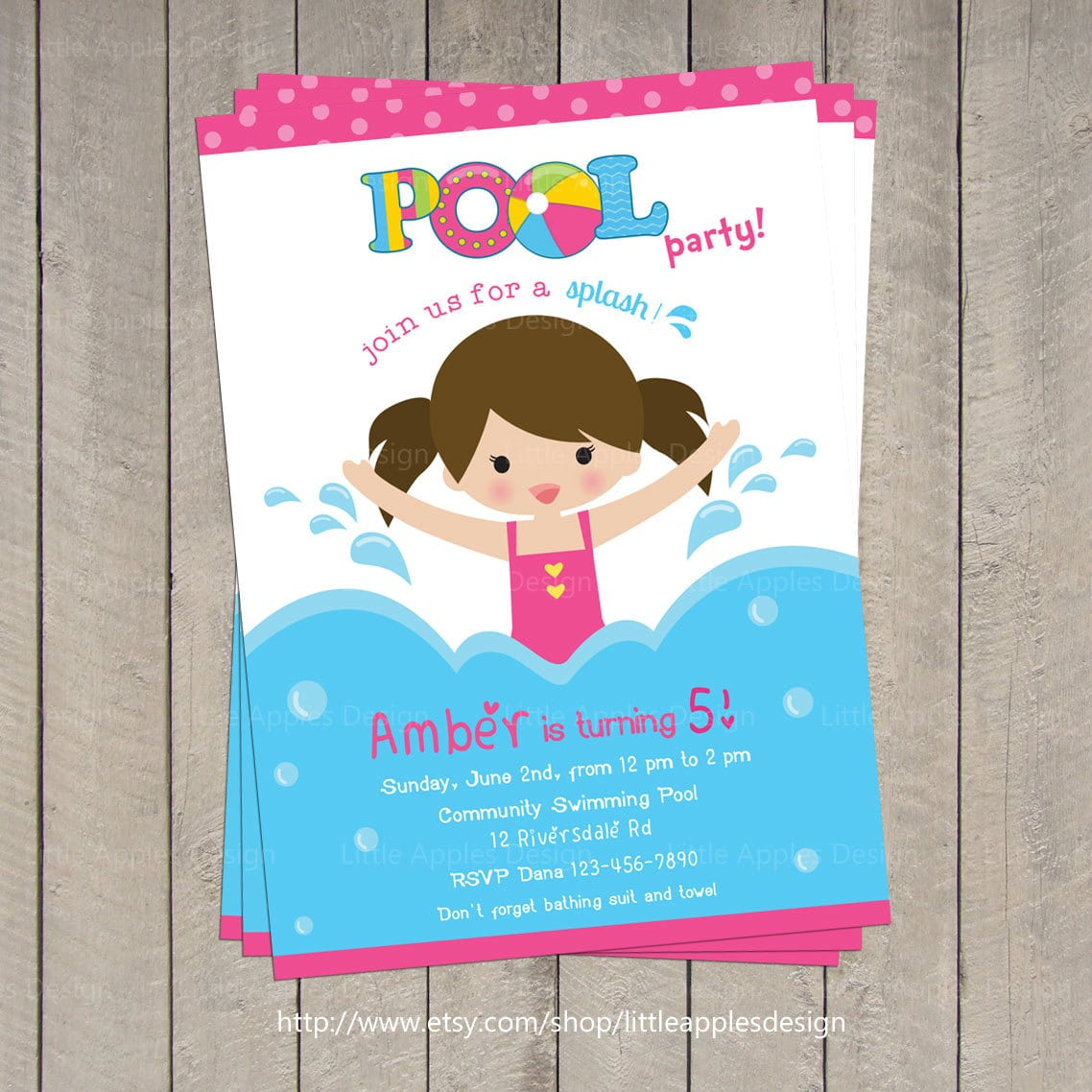 Pool Invitation   Pool Party Invitation   Kids Pool Party