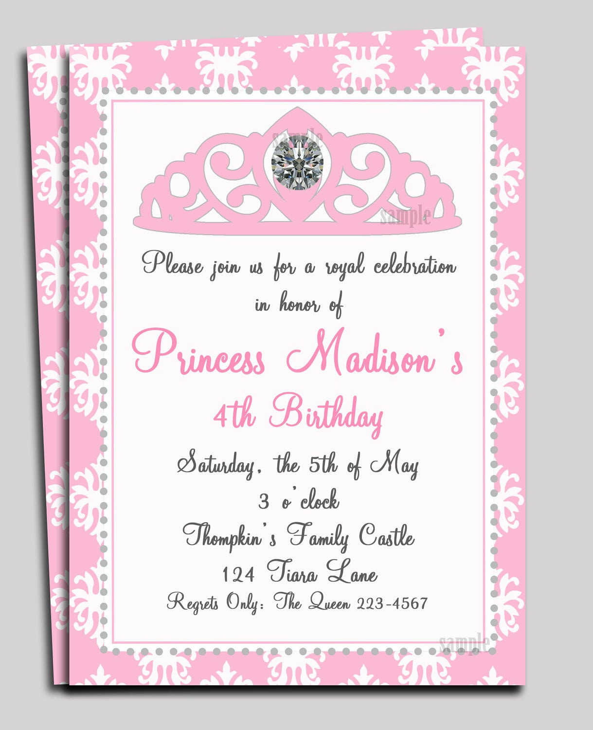 Princess Invitation Printable Or Printed With Free Shipping