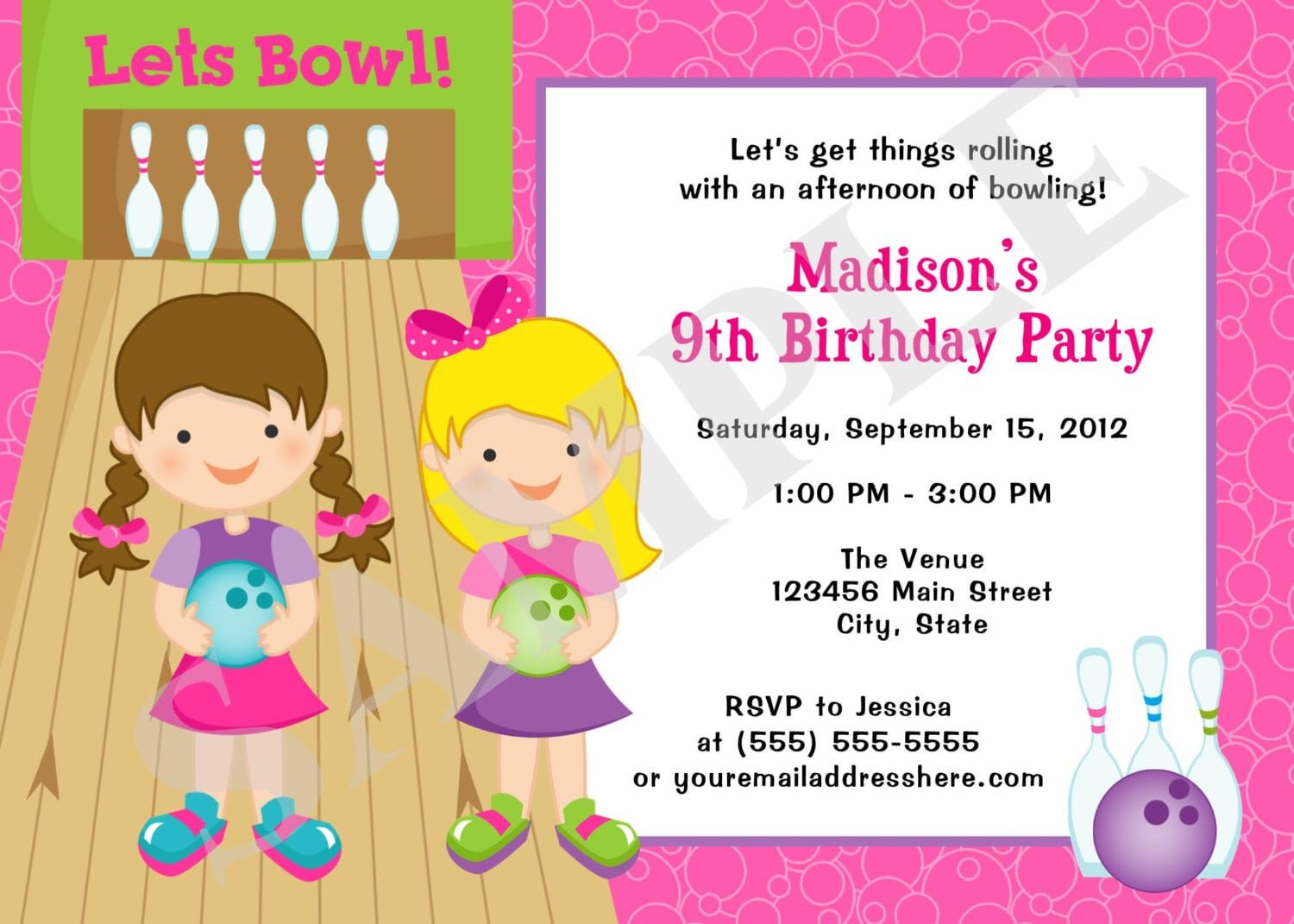 Print Yourself Girls Bowling Birthday Party Invitation Digital