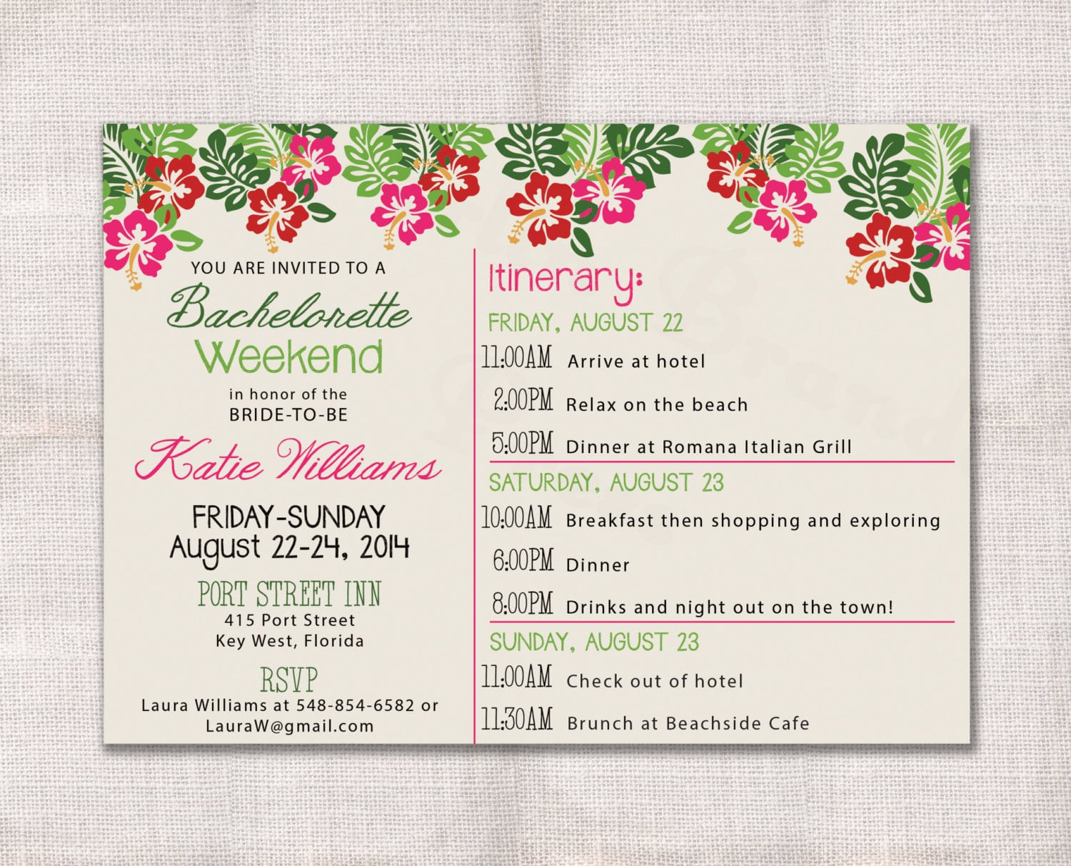 Printable Bachelorette Party Weekend Invitation And Itinerary