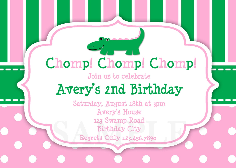 Printable Birthday Invitations, Girls Alligator Party,