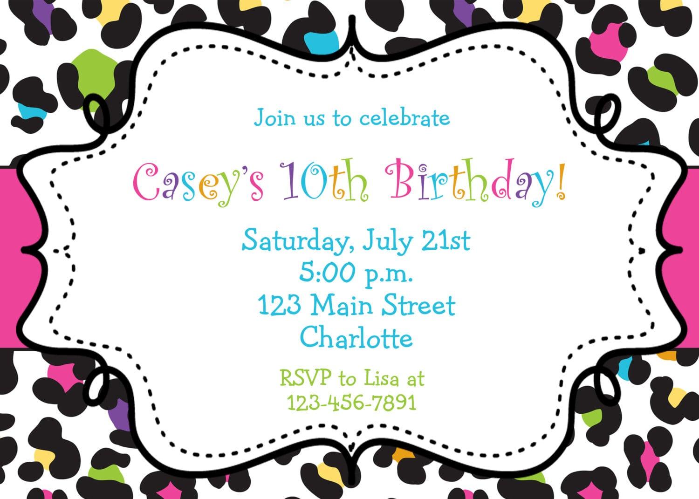 Rainbow Cheetah Girls Birthday Party Invitation Printable