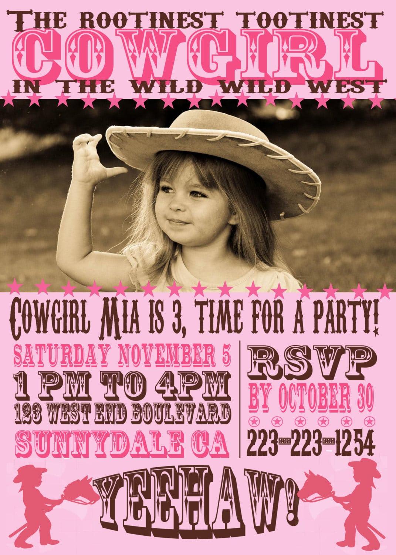 Rootinest Tootinest Cowgirl Birthday Invitation Digital File