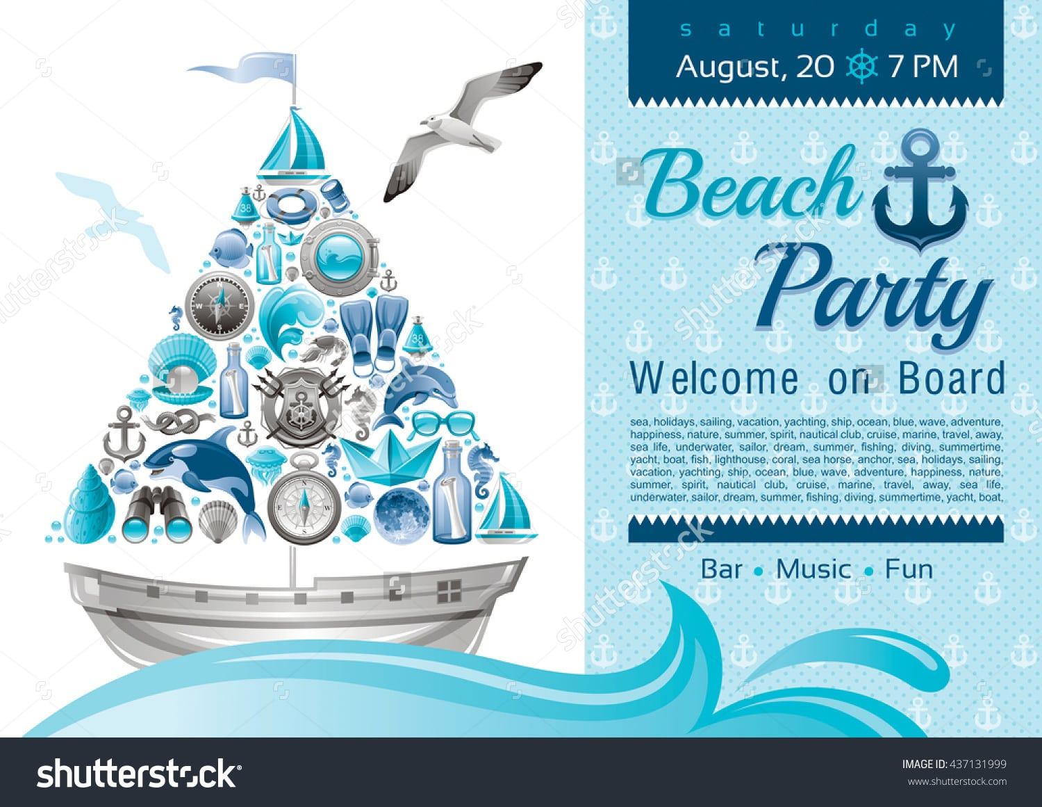 Sea Summer Travel Banner Invitation Design Stock Vector 437131999