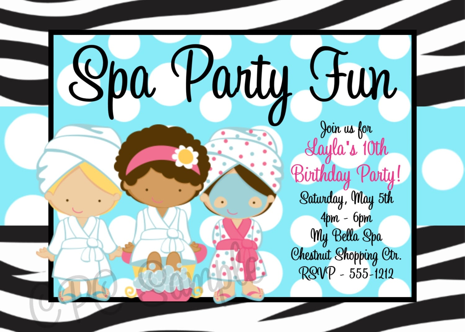 Spa Birthday Party Invitations Printable Or Printed Party