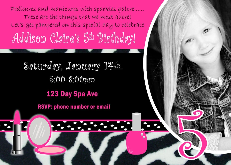 Spa Birthday Party Invite Girl Birthday Party Invitation